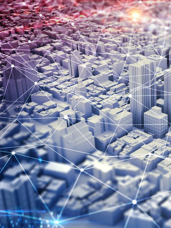 strategic matrix over city illustration